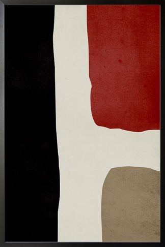 Abstract Textured red black and beige poster