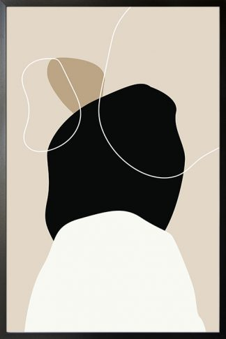 Beige tone shapes and lines no. 1 poster