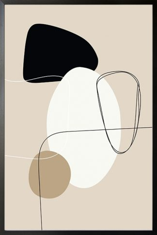 Beige tone shapes and lines no. 2 poster