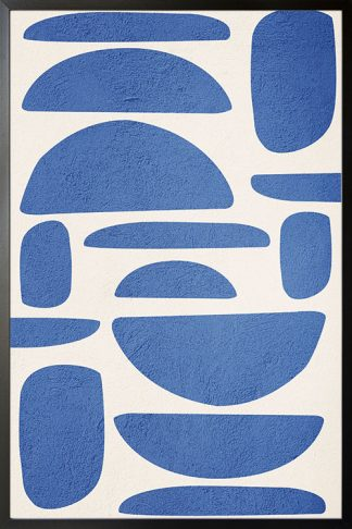 Blue Color modern abstract shapes poster
