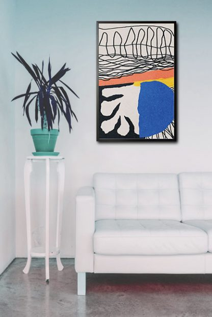 Abstract hand drawn no. 4 poster in interior