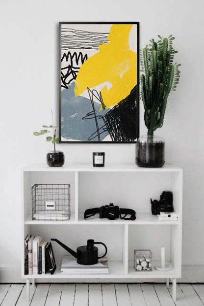 Abstract hand drawn no. 5 poster in interior