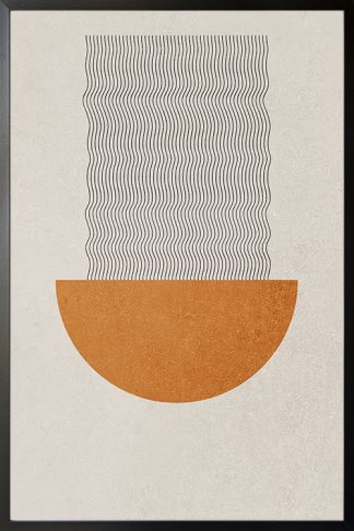 Graphical lines and circle forming ramen poster