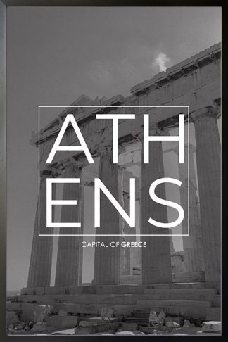 Athens B&W Typo poster