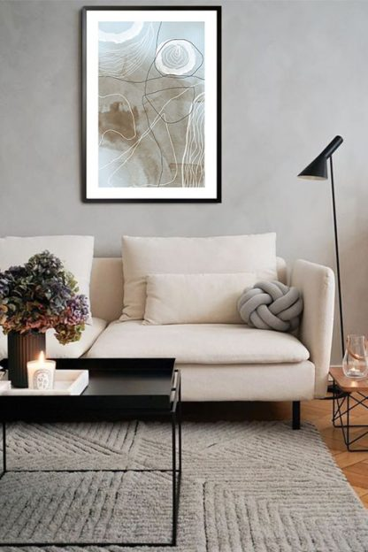 Neutral Tone paint and lines no. 3 poster in interior