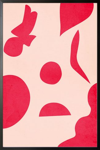 Vibrant pink shape abstract poster