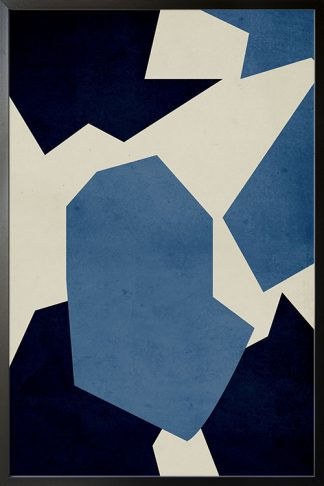 Dark blue shape abstract poster